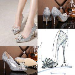 Wholesale 2015 Cinderella High Heels Crystals Wedding Shoes Thin Heel Rhinestone Platform Butterfly Cinderella Crystal Shoes Woman Prom Party Shoes