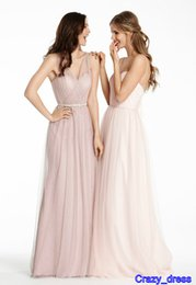 Wholesale Plus Size Bridesmaids Evening Prom Convertible Dresses Tulle Sheer V Neck Cheap A Line Ruffle Long Hollow Custom Made Under New