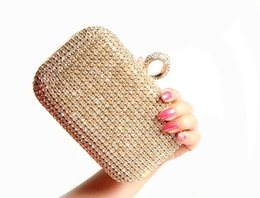 Wholesale Gold Wedding Bridal Hand Bags for Party Prom Evening Clutches Purse Rhinestone Crystals Evening Clutch Bag Purses