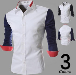 Wholesale Shirt mens dress shirts stitching lapel shirts long sleeve shirts casual shirt outerwear men clothing black blue
