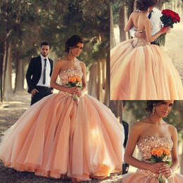 Wholesale 2015 New Quinceanera Dresses Strapless Coral Tulle Crystals Beaded Ball Gown Debutante Dress vestidos de ga Ball Gown Q115 Custom Made Style