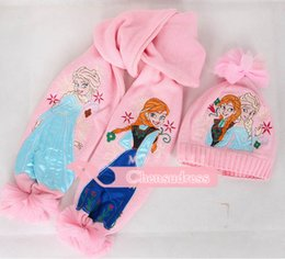 Wholesale 5Pcs Christmas Gift Frozen children scarf shawl Cartoon girl knitting scarf hat ELSA ANNA warm winter hat Children Gift Sets BO7056