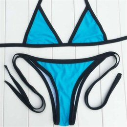 Wholesale TOP Women Sexy Bikini Swimwear Halter Neck Bikinis Hot Separates Swimsuits Beach Swim wear Green Blue