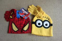 2pcs das crianças / inverno jogo dos desenhos animados Minions luva Hat Define Spiderman Crianças Roupas de bebê Quente malha Chapéus Scarf Set
