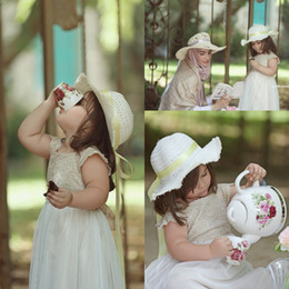 Wholesale Lovely Cute Lace Chiffon Kids First Communion Dresses A Line Ankle Length Cap Sleeves Flower Girl Dresses With Sash Party Dresses BA1775