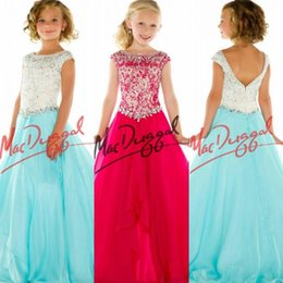 Wholesale 2016 Girls Pageant Dresses For Teens Hot Pink Chiffon Cap Sleeve Lace Beades Long Floor Length Size Party Children Flower Girl Gowns