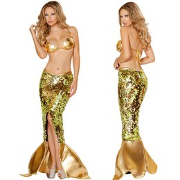 Wholesale Al por mayor Nuevo vestido de noche de Halloween Disfraces mujer sexy lentejuelas de cuero de imitación de la sirena Traje Cosplay Uniforme tamaño Fishtail vestido M XL