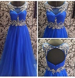 Wholesale 2015 Sexy Sheer A Line Kim Kardashian Rhinestones Celebrity Dress Long Ball Gown Royal Blue Evening Dress Cheap Prom Party Gowns