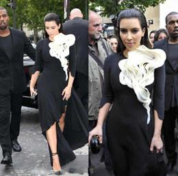 Wholesale Kim Kardashian Black Prom Dresses White Ruffles Side Split Hi Lo Half Sleeve Vestidos De Noiva Red Carpet Custom Made Formal Prom Dress