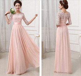 Wholesale 2015 New Women Lace Chiffon Fold Maxi Dresses Elegant Fashion White Pink O Neck Half Sleeve A Line Waist Slim Floor Length Party Dresses