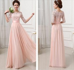 Wholesale 2015 New Women Plus Size Lace Chiffon Fold Maxi Dress Elegant Fashion Bridesmaid Crew Neck Half Sleeve A Line Waist Slim Prom Party Dresses