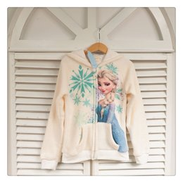 Wholesale Winter Children Girls Hoodies Kids Clothing Froze Warmth Long Sleeve Elsa Anna Zipper Sweatshirts Childs Zipper Tops H1791