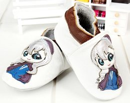 Wholesale Froze Elsa Anna New Boys Girls Shoes Genunie Leather Kids Shoes Cartoon Character Pattern Children Boys Girls Toddler Shoes L0730
