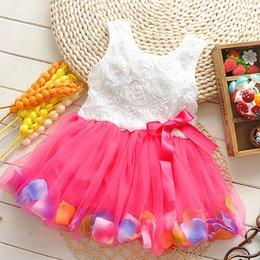 Wholesale 2015 girls summer dress lace rose flower party dresses petal veil princess Tutu Dresses girls clothes children dresses