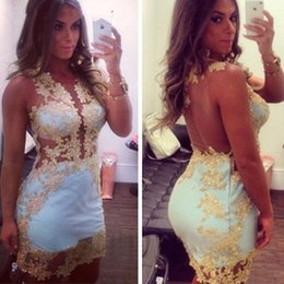 Wholesale Sexy Short Cocktail Dresses Plunging Neck Gold Appliqued See Through Back Sheath Party Dresses For Womens Club Wear Gowns Plus Sized