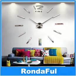 3d diy large mirror home decor wall clock modern design decorative wall designer clocks silver art watches home decor - Discount Designer Home Decor