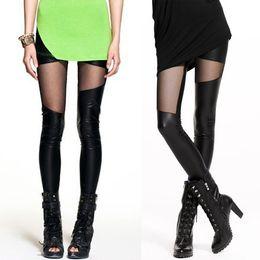 Wholesale Sexy Women Slim Pants See through Rock Punk Leggings Leather Patch Leggings Hot FG1511