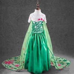 Wholesale DHL Big Enfants Vêtements Lace Frozen Dress Fièvre avec Cape Vêtements Filles Enfants manches courtes Elsa Anna Bow dentelle fil vert robes K5518