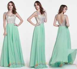 Wholesale Fresh Green Prom Dresses Crystal Beads Formal Long Party Dresses A Line V Neck Floor Length Chiffon Cheap In Stock Bridesmaid Gown