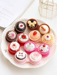 Wholesale Beauty Lovely Cartoon Cream Cake Style Contact Lenses Case Lens Storage set Boxes Spring Style In Stock