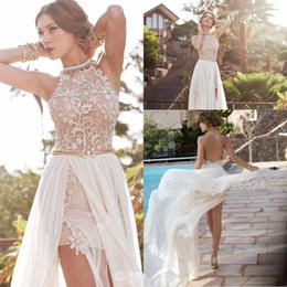 Wholesale 2015 Hot Julie Vino summer beach high empire wedding dresses In Stockchiffon side slit lace halter backless court train bridal gowns BO5557