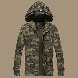 Wholesale Otoño de nueva llegada Mens Casual chaqueta de camuflaje militar Estilo Hombres sudadera con capucha Chaquetas y abrigos hombre de Camo táctico Abrigos tamaño M XL