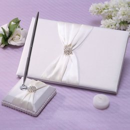 Wholesale New Romantic Wedding Guest Book and Pen Elegant Satin Notebook Shining Rhinestone Embedded Fashion Guest Pen and Guest Book Set H15883