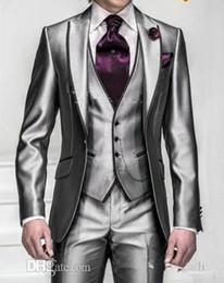 Wholesale New Shiny Slim Fit Groom Tuxedos Silver Grey Best Man Peak Lapel Groomsman Men Wedding Dinner Suits Bridegroom
