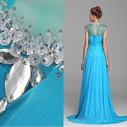 Wholesale 2015 Aqua Blue High Neck Prom Dresses Sheer Top A line Chiffon Crystal Beaded Eveing Gowns