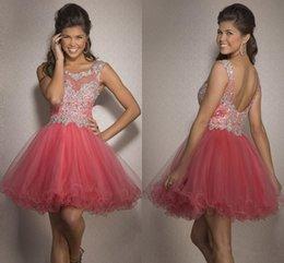 Wholesale 2015 Vestidos Luz Coral partido frisada Uma linha curta Prom Vestidos Voltar Abra uma linha de strass zipper barato Comprimento Mini Clube Vestidos