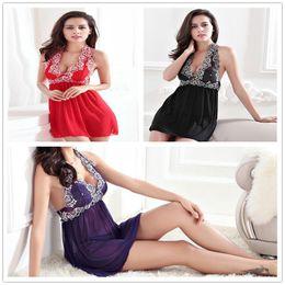 Erotic Halter Mesh Lace Pyjamas Adulte Lingerie Sous-vêtements sexy pour Babydoll Femmes Pyjamas Plus Size M-2XL Noir / Violet / Rouge