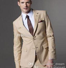Wholesale 2015Latest Design Two Buttons Beige Groom Tuxedos Notch Lapel Best Man Groomsman Men Wedding Suits Jacket Pants Tie Girdle
