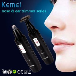 Wholesale New Washable Electric male Nose Ear Hair Trimmer in black Shaver Clipper KM