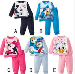 Wholesale Free DHL Children boys girls kids Clothing Sets Minnie Mouse suits sleepwear long sleeve cartoon pajamas