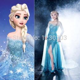 Wholesale Adult Frozen Costume Princess Elsa Cosplay Halloween Costumes For Women Fantasy Snow Queen Frozen Dress Custom