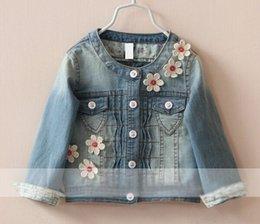 Wholesale European Girls Denim Jacket new spring and autumn children clothing Flowers Round Collar Cowboy outwear kids clothes HX