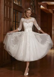 Wholesale 2014 High Quality Vintage Crew Long Sleeve Lace Cover Back Tea length White Tulle Lace Beaded Short Wedding Dresses