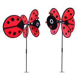 wholesale 2pcs red ladybug and yellow bee design windmill garden decoration wind twister