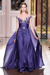 Wholesale 2016 zuhair murad evening dress sleeveless prom dress chiffon purple formal dresses party dress custom made women s dress