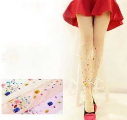 Wholesale New Women tights bling crystal rhinestones D Candy Colors Ultrathin Harajuku Shiny Pantyhose Fashion Woman Stocking
