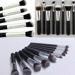 Wholesale 10pcs Kabuki Style Professional Makeup Brushes Tools Sets Make Up Brushes Full Cosmetic Brush Eyeshadow Lip Face Powder Brush Free DHL