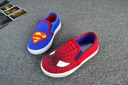 Wholesale 24 pares de zapatos de Spiderman Superman Chicos Cartoon niños Calzado deportivo Superhero niños zapatos zapatos niños zapatos de lona ocasionales para el muchacho