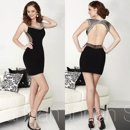 Wholesale Cheap Sexy Black Beads Sheath Party Dresses Backless Homecoming Dress Cuatom Made Cocktail Dress