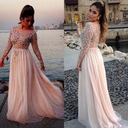 Wholesale New Elie Saab Gorgeous Crystal Beaded Prom Dresses Sheer Scoop Neck Long Sleev A Line Floor Length Chiffon Evening Gowns Pageant Dress