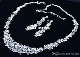 Wholesale 2015 Cheap Twinkle Plated crystal wedding bridal jewelry sets rhinestone Allloy plated necklace and earrings piece NE037 Sample MYF126