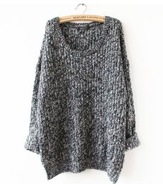 Wholesale Autumn Winter Women Loose Knitted Sweater Oversized Sleeves O Neck Tops Outwear Pullovers