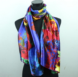 1pcs Volcano Red Yellow Flowers Royal Blue Women's Fashion Satin Oil Painting Long Wrap Shawl Beach Silk Scarf 160X50cm