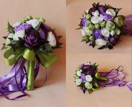 Wholesale Purple White Bridal Wedding Bouquet Romantic Cheap Wedding Decoration Artificial Silk Rose Flowers Bridesmaid Flower Bouquet HC