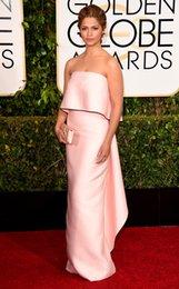 Wholesale 2015 Camila Alves Celebrity Dresses st Golden Globe Awards Red Carpet Dresses Strapless Sheath Evening Gowns Taffeta Pink Prom Dresses