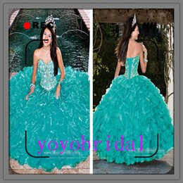 Wholesale 2015 Sexy Spring Summer Mint Beaded Quinceanera Ball Gown Dress Crystal Sleeveless Sweetheart Floor length Organza Girl Quinceanera Dresses